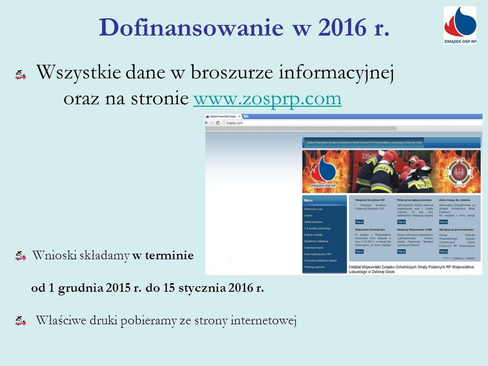 Wszystkie dane w broszurze informacyjnej oraz na stronie www.zosprp.comwww.zosprp.com Wnioski składamy w terminie od 1 grudnia 2015 r. do 15 stycznia