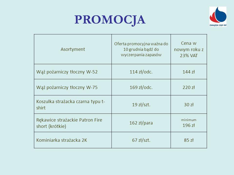 PROMOCJA Asortyment Oferta promocyjna ważna do 10 grudnia bądź do wyczerpania zapasów Cena w nowym roku z 23% VAT Wąż pożarniczy tłoczny W-52114 zł/od