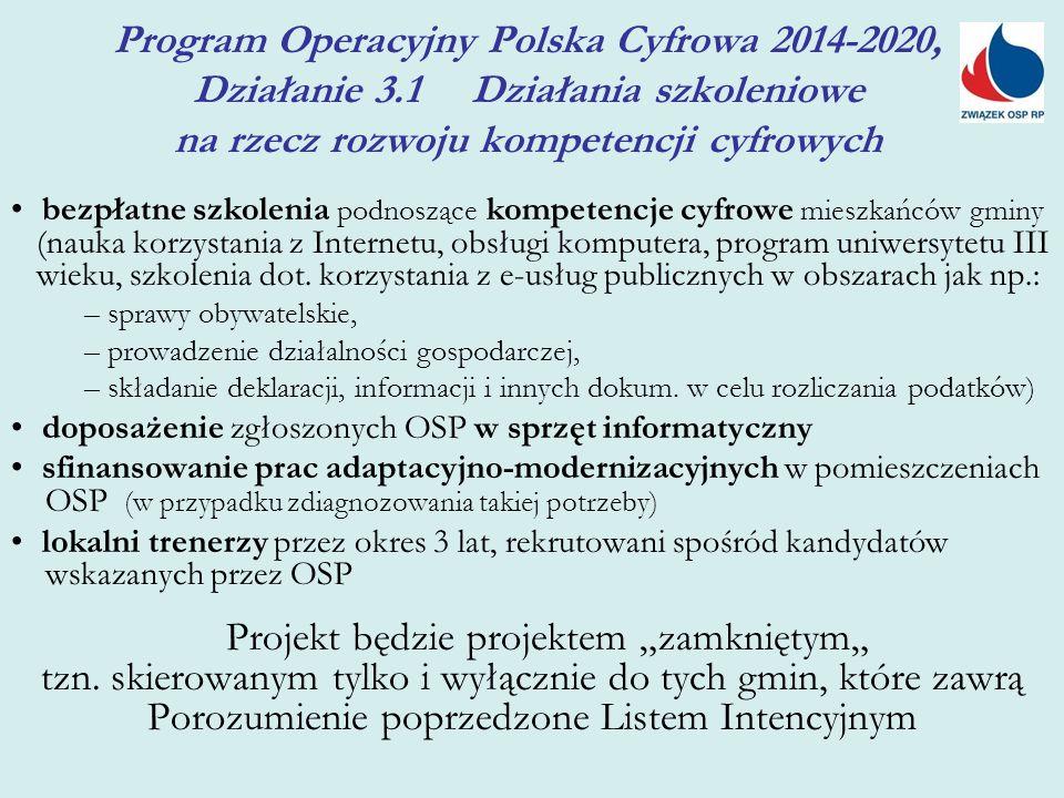 Program Operacyjny Polska Cyfrowa 2014-2020, Działanie 3.1 Działania szkoleniowe na rzecz rozwoju kompetencji cyfrowych bezpłatne szkolenia podnoszące kompetencje cyfrowe mieszkańców gminy (nauka korzystania z Internetu, obsługi komputera, program uniwersytetu III wieku, szkolenia dot.