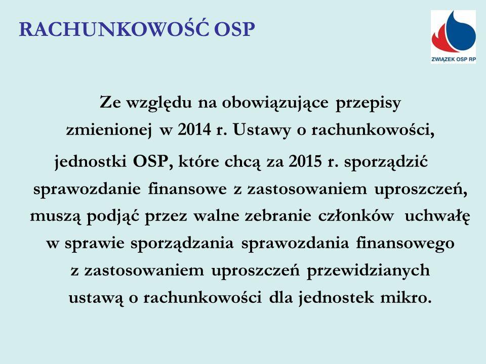 Ze względu na obowiązujące przepisy zmienionej w 2014 r. Ustawy o rachunkowości, jednostki OSP, które chcą za 2015 r. sporządzić sprawozdanie finansow