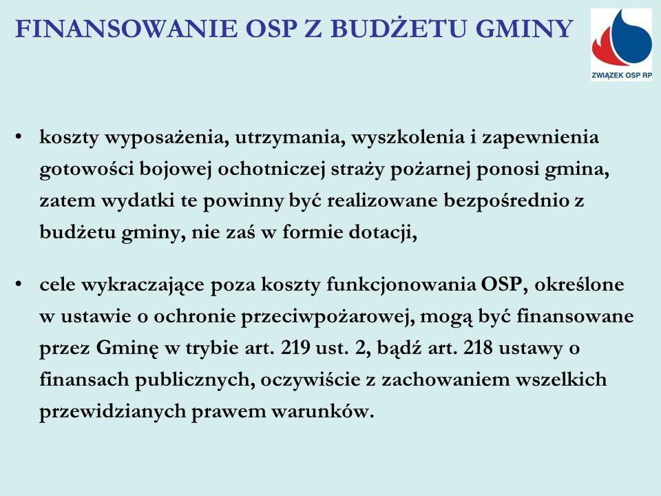 koszty wyposażenia, utrzymania, wyszkolenia i zapewnienia gotowości bojowej ochotniczej straży pożarnej ponosi gmina, zatem wydatki te powinny być realizowane bezpośrednio z budżetu gminy, nie zaś w formie dotacji, cele wykraczające poza koszty funkcjonowania OSP, określone w ustawie o ochronie przeciwpożarowej, mogą być finansowane przez Gminę w trybie art.