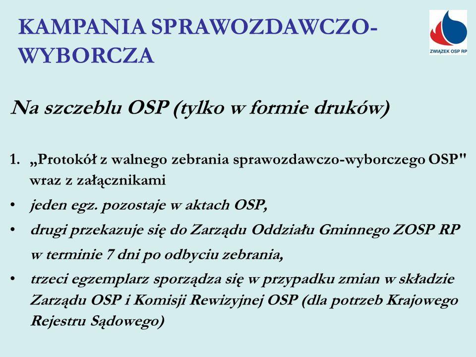 """Na szczeblu OSP (tylko w formie druków) 1.""""Protokół z walnego zebrania sprawozdawczo-wyborczego OSP wraz z załącznikami jeden egz."""