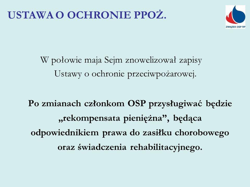 """W połowie maja Sejm znowelizował zapisy Ustawy o ochronie przeciwpożarowej. Po zmianach członkom OSP przysługiwać będzie """"rekompensata pieniężna"""", będ"""