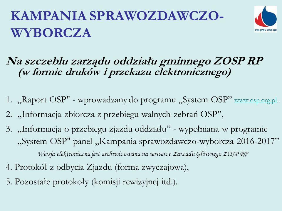 """Na szczeblu zarządu oddziału gminnego ZOSP RP (w formie druków i przekazu elektronicznego) 1.""""Raport OSP - wprowadzany do programu """"System OSP www.osp.org.pl, www.osp.org.pl 2.""""Informacja zbiorcza z przebiegu walnych zebrań OSP , 3.""""Informacja o przebiegu zjazdu oddziału - wypełniana w programie """"System OSP panel """"Kampania sprawozdawczo-wyborcza 2016-2017 Wersja elektroniczna jest archiwizowana na serwerze Zarządu Głównego ZOSP RP 4."""