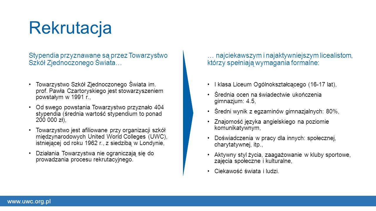 www.uwc.org.pl Rekrutacja Stypendia przyznawane są przez Towarzystwo Szkół Zjednoczonego Świata… Towarzystwo Szkół Zjednoczonego Świata im.