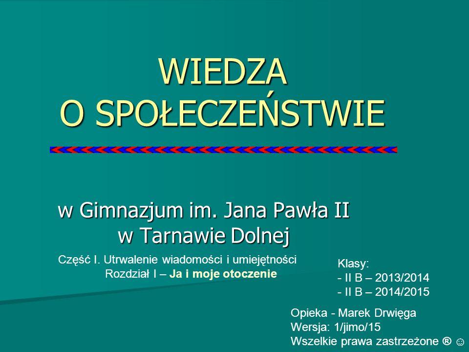 WIEDZA O SPOŁECZEŃSTWIE w Gimnazjum im. Jana Pawła II w Tarnawie Dolnej Klasy: - II B – 2013/2014 - II B – 2014/2015 Opieka - Marek Drwięga Wersja: 1/