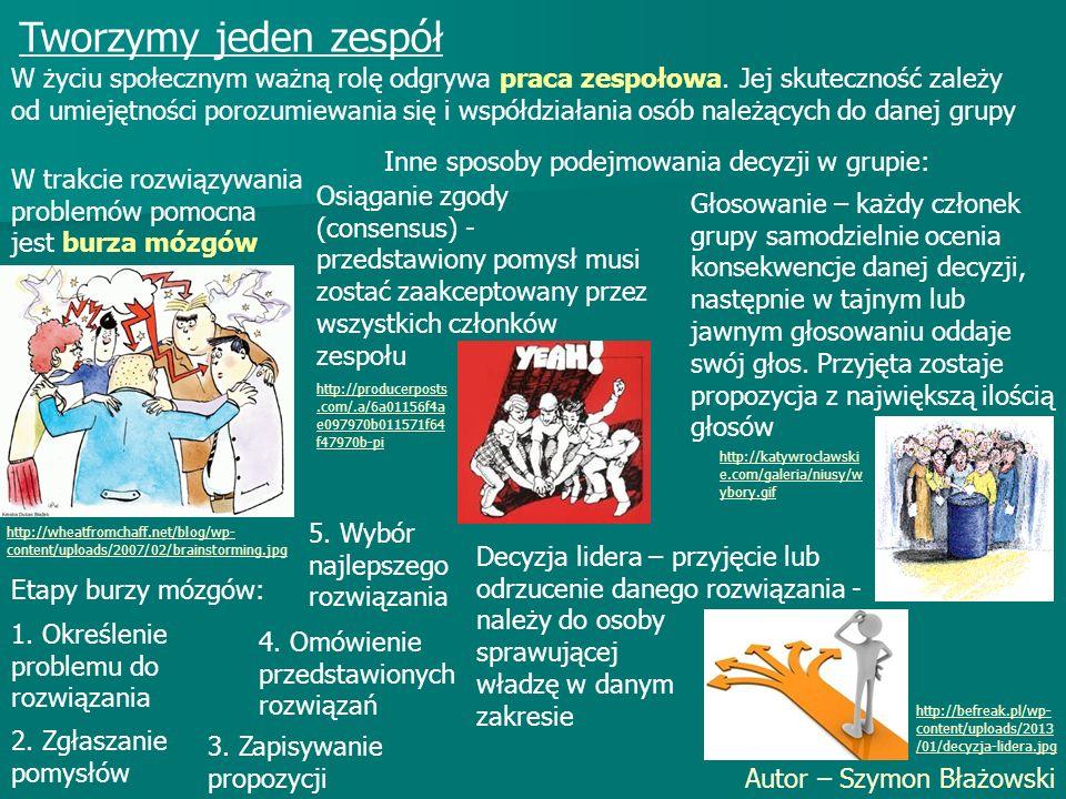 Tworzymy jeden zespół Autor – Szymon Błażowski W życiu społecznym ważną rolę odgrywa praca zespołowa. Jej skuteczność zależy od umiejętności porozumie