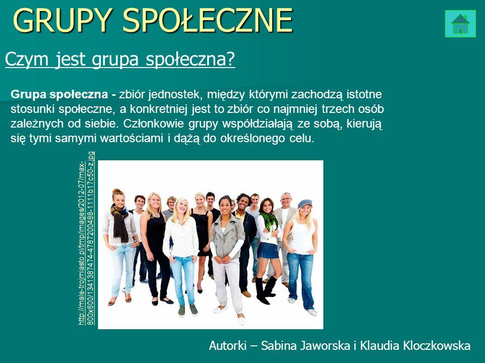 Czym jest grupa społeczna? GRUPY SPOŁECZNE Grupa społeczna - zbiór jednostek, między którymi zachodzą istotne stosunki społeczne, a konkretniej jest t
