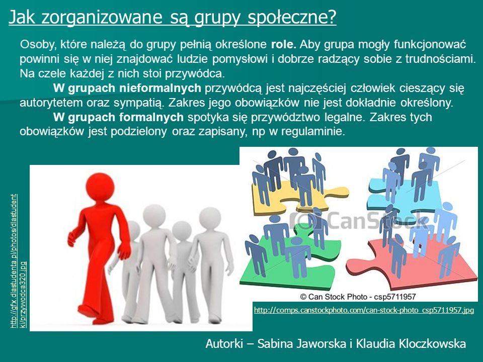 Jak zorganizowane są grupy społeczne? Osoby, które należą do grupy pełnią określone role. Aby grupa mogły funkcjonować powinni się w niej znajdować lu