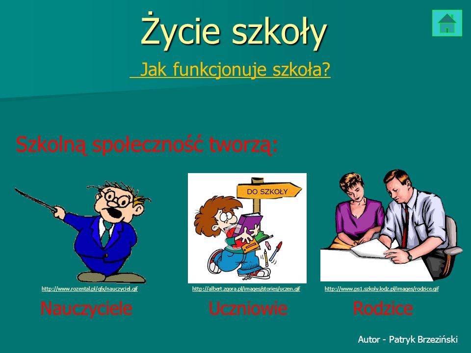 Życie szkoły Jak funkcjonuje szkoła? Szkolną społeczność tworzą: Nauczyciele UczniowieRodzice http://www.rozental.pl/gfx/nauczyciel.gifhttp://www.ps1.