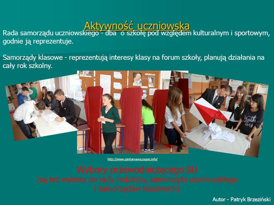 Aktywność uczniowska Rada samorządu uczniowskiego - dba o szkołę pod względem kulturalnym i sportowym, godnie ją reprezentuje. Samorządy klasowe - rep