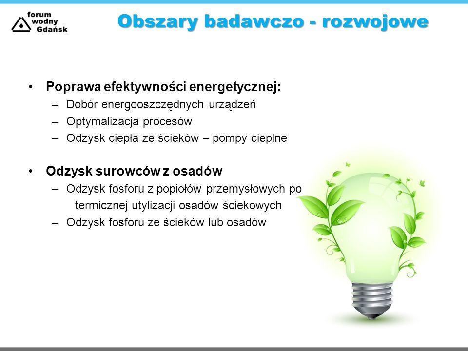 Obszary badawczo - rozwojowe Poprawa efektywności energetycznej: –Dobór energooszczędnych urządzeń –Optymalizacja procesów –Odzysk ciepła ze ścieków –