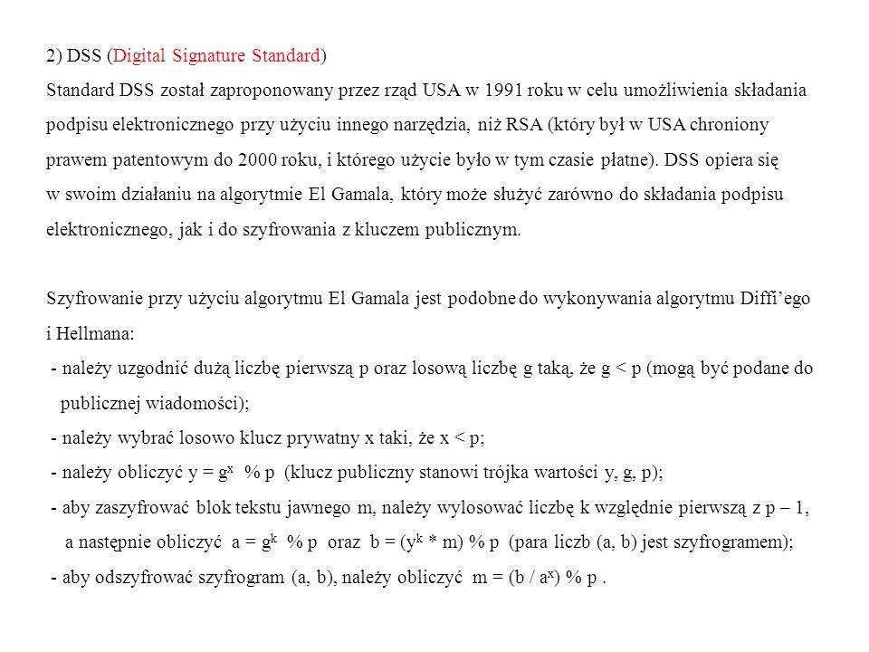 2) DSS (Digital Signature Standard) Standard DSS został zaproponowany przez rząd USA w 1991 roku w celu umożliwienia składania podpisu elektronicznego