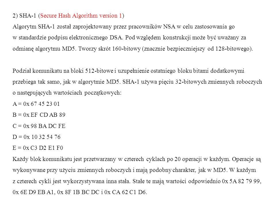 2) SHA-1 (Secure Hash Algorithm version 1) Algorytm SHA-1 został zaprojektowany przez pracowników NSA w celu zastosowania go w standardzie podpisu ele