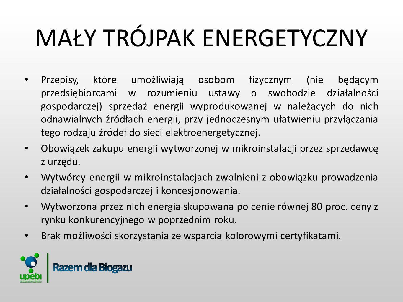 MAŁY TRÓJPAK ENERGETYCZNY Przepisy, które umożliwiają osobom fizycznym (nie będącym przedsiębiorcami w rozumieniu ustawy o swobodzie działalności gosp