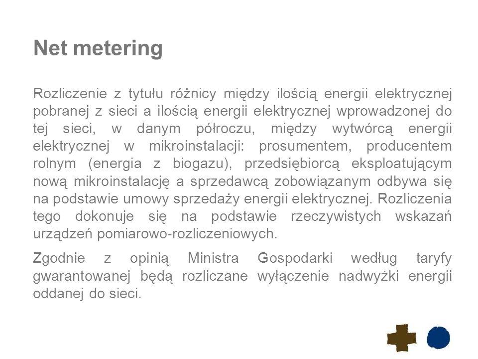 Net metering Rozliczenie z tytułu różnicy między ilością energii elektrycznej pobranej z sieci a ilością energii elektrycznej wprowadzonej do tej siec