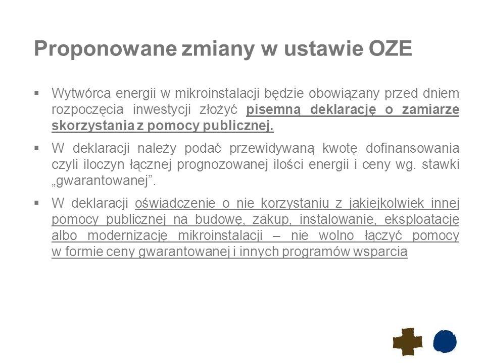 Proponowane zmiany w ustawie OZE  Wytwórca energii w mikroinstalacji będzie obowiązany przed dniem rozpoczęcia inwestycji złożyć pisemną deklarację o zamiarze skorzystania z pomocy publicznej.