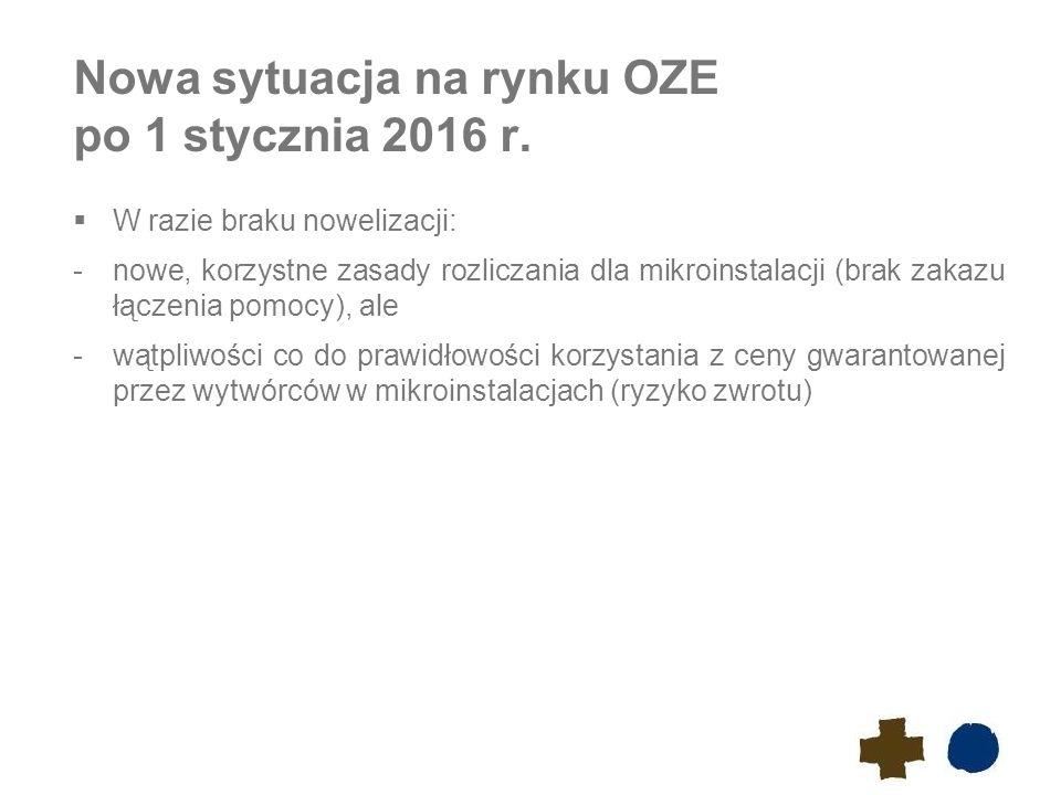 Nowa sytuacja na rynku OZE po 1 stycznia 2016 r.  W razie braku nowelizacji: -nowe, korzystne zasady rozliczania dla mikroinstalacji (brak zakazu łąc