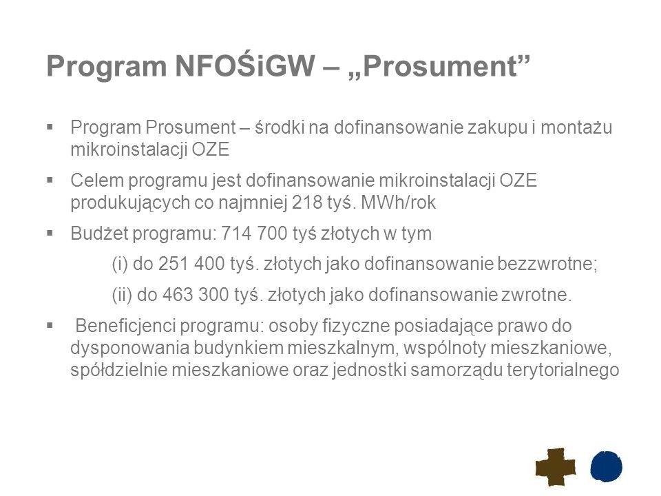"""Program NFOŚiGW – """"Prosument  Program Prosument – środki na dofinansowanie zakupu i montażu mikroinstalacji OZE  Celem programu jest dofinansowanie mikroinstalacji OZE produkujących co najmniej 218 tyś."""