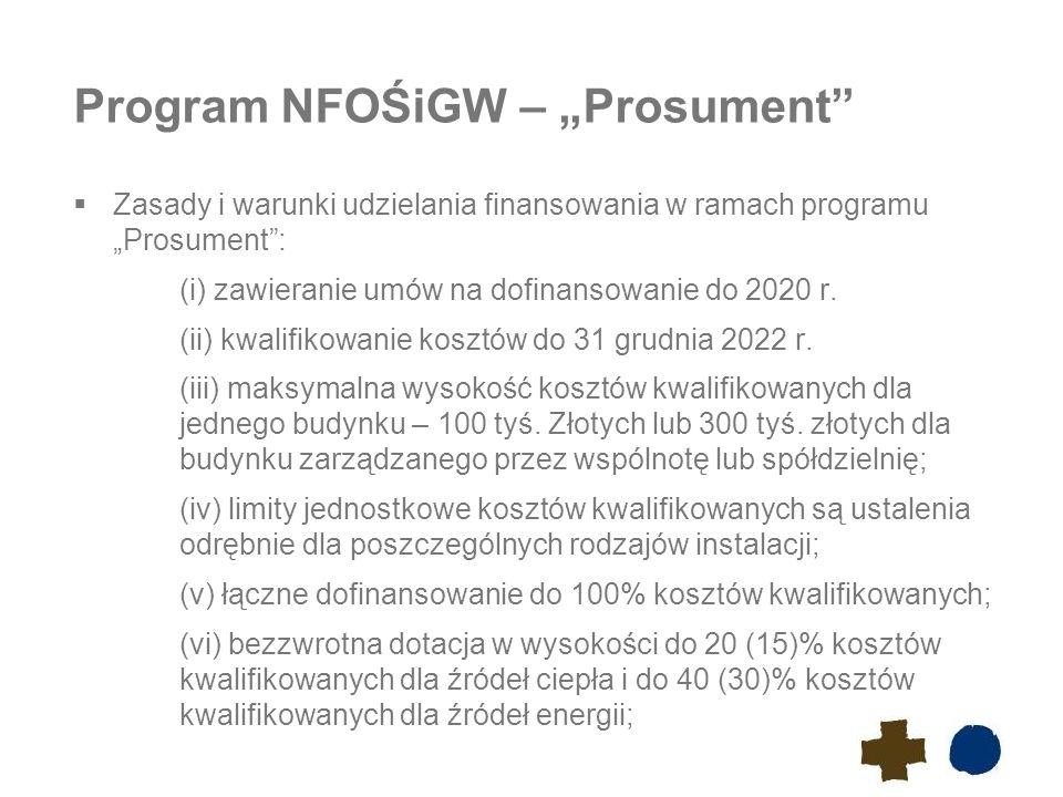 """Program NFOŚiGW – """"Prosument""""  Zasady i warunki udzielania finansowania w ramach programu """"Prosument"""": (i) zawieranie umów na dofinansowanie do 2020"""