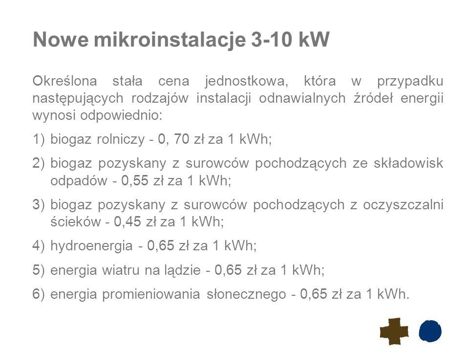 Nowe mikroinstalacje 3-10 kW Określona stała cena jednostkowa, która w przypadku następujących rodzajów instalacji odnawialnych źródeł energii wynosi odpowiednio: 1)biogaz rolniczy - 0, 70 zł za 1 kWh; 2)biogaz pozyskany z surowców pochodzących ze składowisk odpadów - 0,55 zł za 1 kWh; 3)biogaz pozyskany z surowców pochodzących z oczyszczalni ścieków - 0,45 zł za 1 kWh; 4)hydroenergia - 0,65 zł za 1 kWh; 5)energia wiatru na lądzie - 0,65 zł za 1 kWh; 6)energia promieniowania słonecznego - 0,65 zł za 1 kWh.