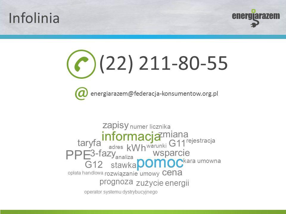 Infolinia (22) 211-80-55 energiarazem@federacja-konsumentow.org.pl informacja pomoc informacja pomoc wsparcie analiza rejestracja warunki zapisy kWh stawka cena kara umowna zmiana G11 G12 3-fazy rozwiązanie umowy taryfa numer licznika PPE adres opłata handlowa prognoza zużycie energii operator systemu dystrybucyjnego