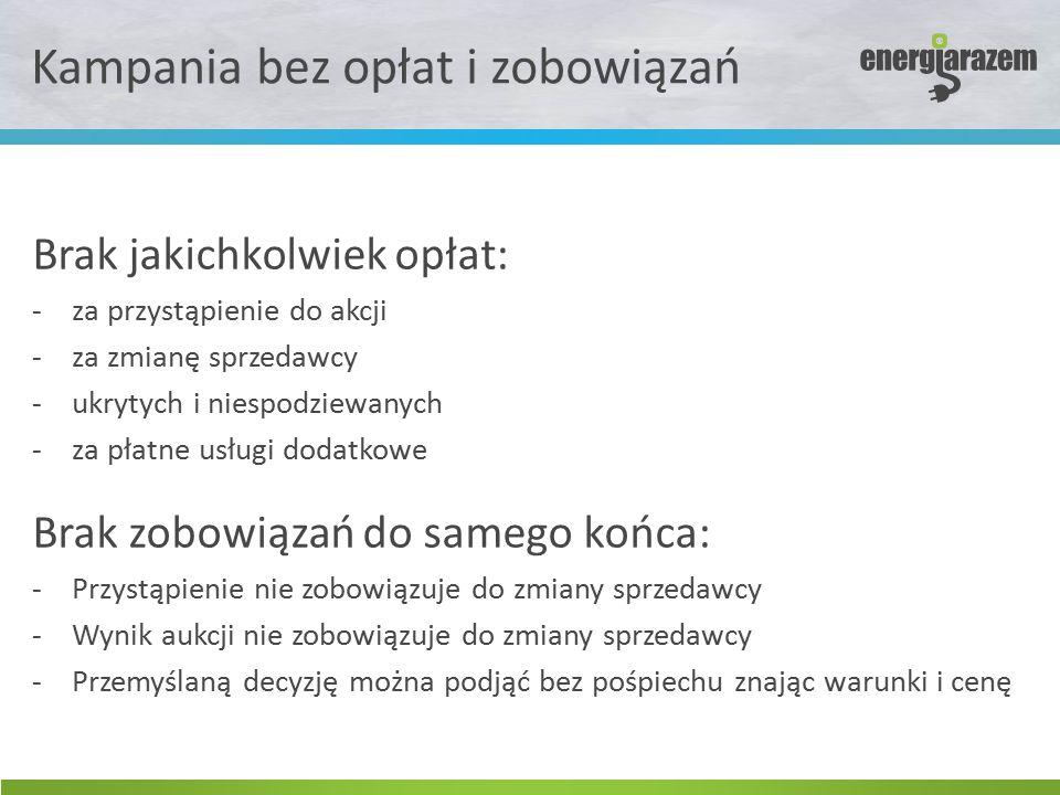 Kampania bez opłat i zobowiązań Brak jakichkolwiek opłat: -za przystąpienie do akcji -za zmianę sprzedawcy -ukrytych i niespodziewanych -za płatne usł