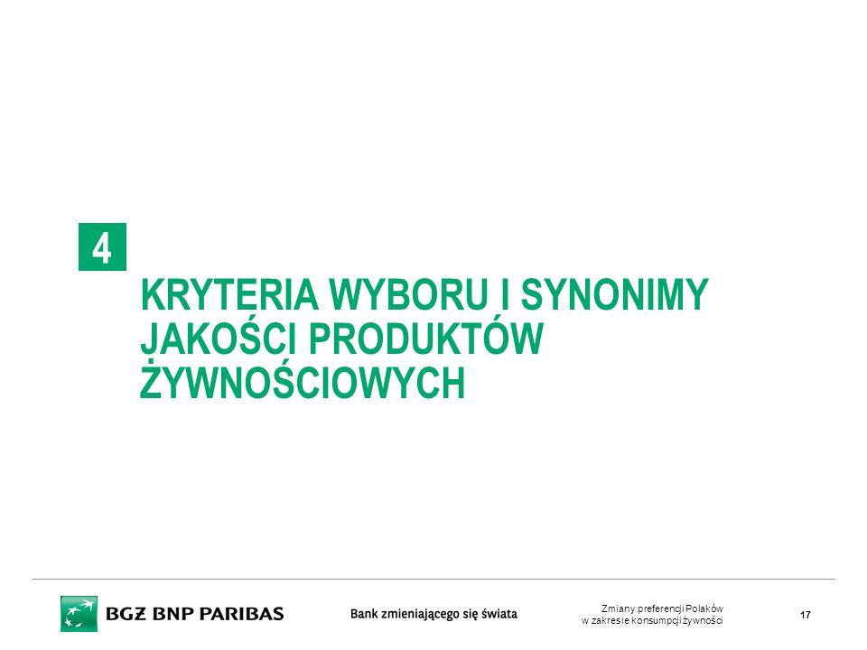 KRYTERIA WYBORU I SYNONIMY JAKOŚCI PRODUKTÓW ŻYWNOŚCIOWYCH 4 Zmiany preferencji Polaków w zakresie konsumpcji żywności 17