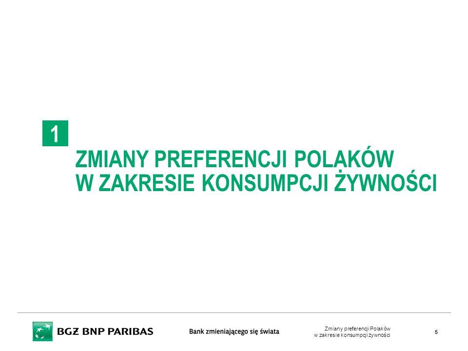 ZMIANY PREFERENCJI POLAKÓW W ZAKRESIE KONSUMPCJI ŻYWNOŚCI 1 Zmiany preferencji Polaków w zakresie konsumpcji żywności 5