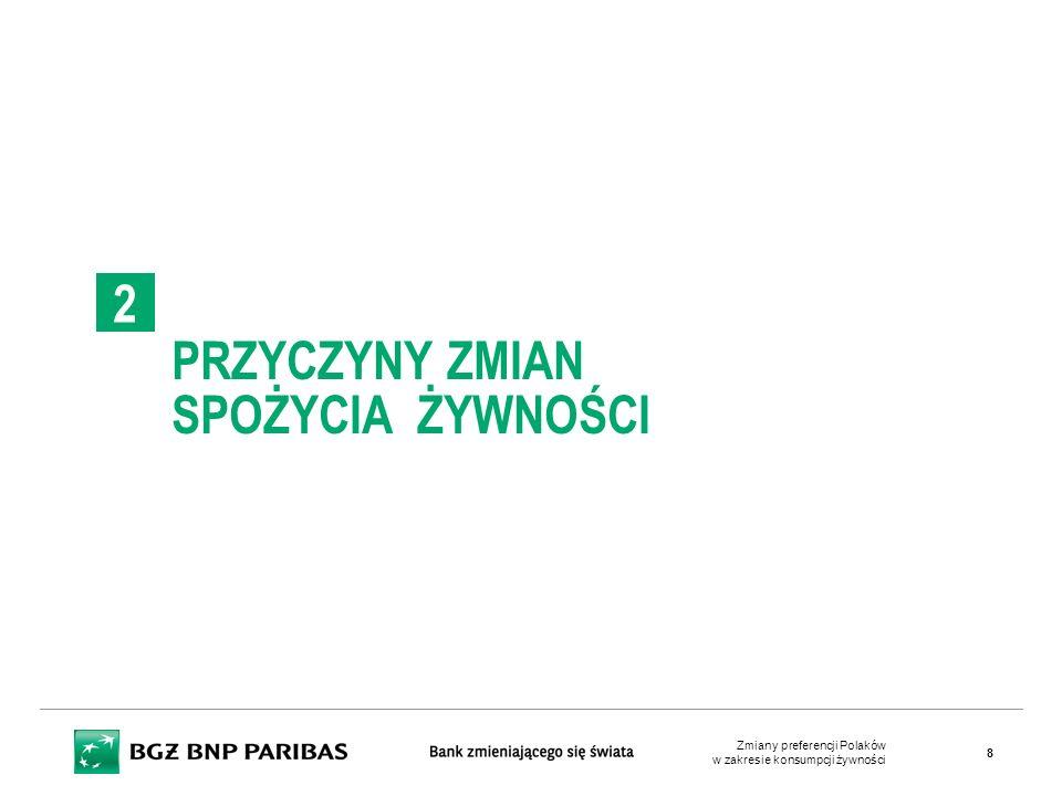 Znaczenie ceny, jako kryterium wyboru dla różnych kategorii produktowych (% wskazań) Cena nadal pozostaje podstawowym kryterium wyboru  W badaniu wykorzystanym w raporcie respondenci mieli wskazać maksymalnie 5 cech, którymi się kierują  Na cenę zwraca uwagę 54% ankietowanych  Na to, że produkt jest wyprodukowany w Polsce 38%  Tradycyjna receptura i gatunek, ekologiczny sposób produkcji, to ważny element wyboru dla 20% ankietowanych  Rozpoznawalność marki producenta ma znaczenie tylko dla 12% respondentów  Zachowanie przy produkcji praw człowieka czy dobrostanu zwierząt ma znaczenie jedynie dla 5% ankietowanych Źródło: Opracowanie BGŻ BNP Paribas na podstawie danych GFK CAPIBUS Zmiany preferencji Polaków w zakresie konsumpcji żywności 19