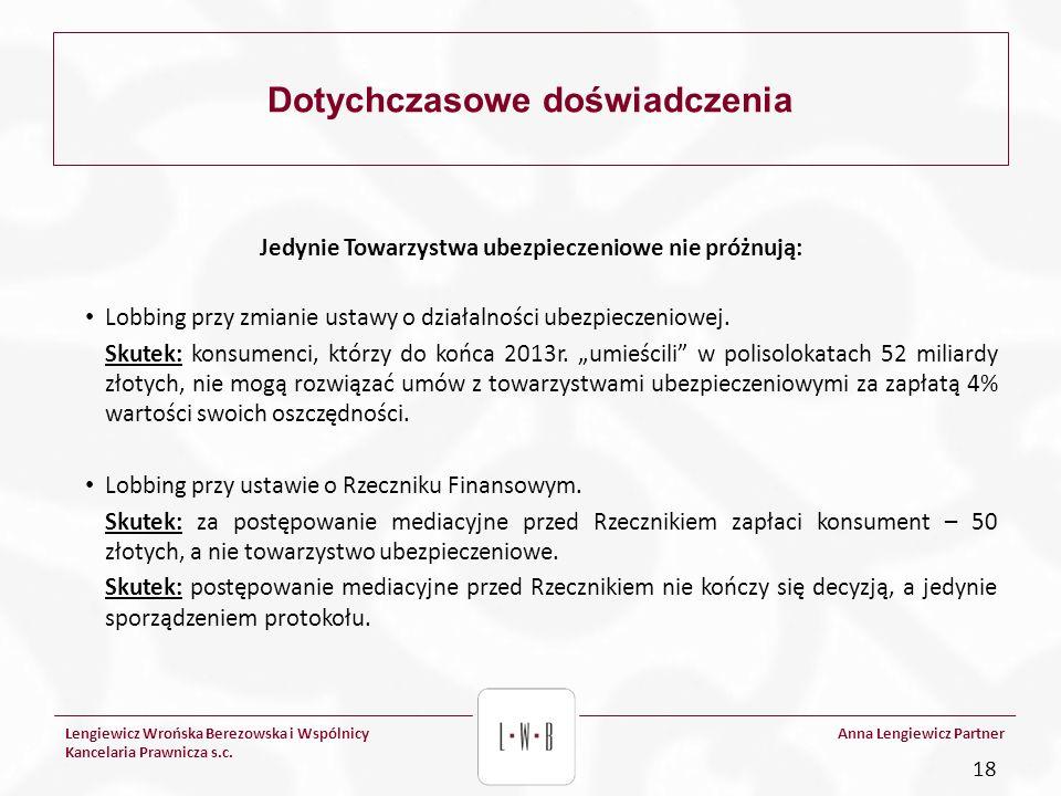 Lengiewicz Wrońska Berezowska i Wspólnicy Kancelaria Prawnicza s.c. Anna Lengiewicz Partner Dotychczasowe doświadczenia Jedynie Towarzystwa ubezpiecze