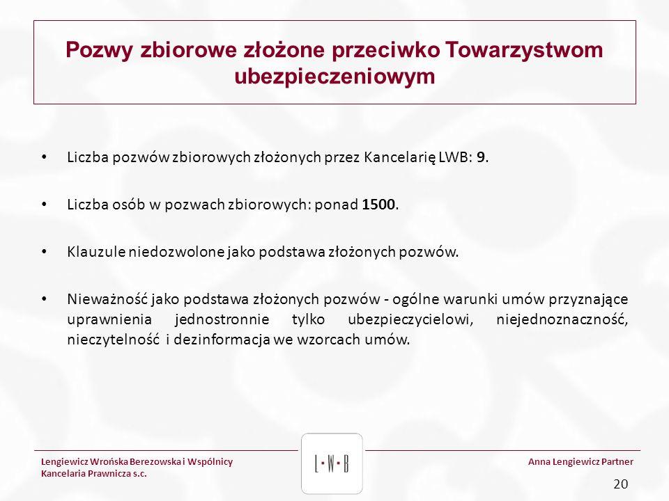 Lengiewicz Wrońska Berezowska i Wspólnicy Kancelaria Prawnicza s.c. Anna Lengiewicz Partner Pozwy zbiorowe złożone przeciwko Towarzystwom ubezpieczeni