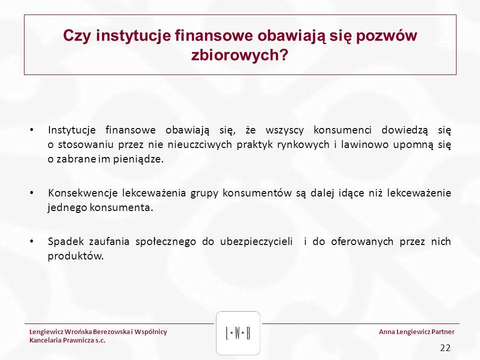 Lengiewicz Wrońska Berezowska i Wspólnicy Kancelaria Prawnicza s.c. Anna Lengiewicz Partner Czy instytucje finansowe obawiają się pozwów zbiorowych? I