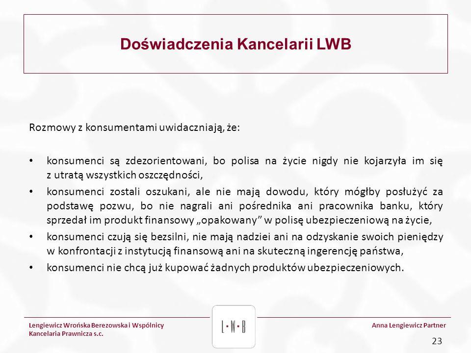 Lengiewicz Wrońska Berezowska i Wspólnicy Kancelaria Prawnicza s.c. Anna Lengiewicz Partner Doświadczenia Kancelarii LWB Rozmowy z konsumentami uwidac