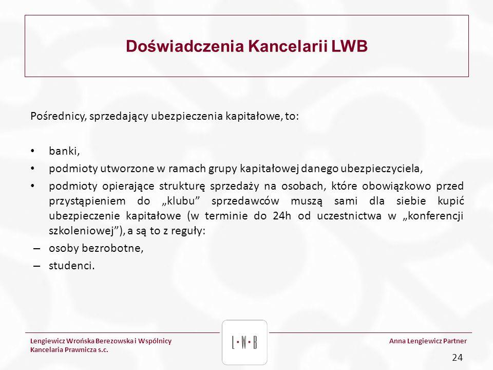 Lengiewicz Wrońska Berezowska i Wspólnicy Kancelaria Prawnicza s.c. Anna Lengiewicz Partner Doświadczenia Kancelarii LWB Pośrednicy, sprzedający ubezp