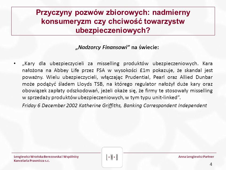 Lengiewicz Wrońska Berezowska i Wspólnicy Kancelaria Prawnicza s.c. Anna Lengiewicz Partner Przyczyny pozwów zbiorowych: nadmierny konsumeryzm czy chc
