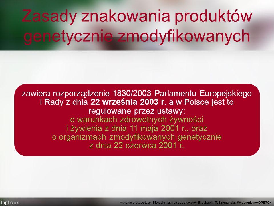 Zasady znakowania produktów genetycznie zmodyfikowanych zawiera rozporządzenie 1830/2003 Parlamentu Europejskiego i Rady z dnia 22 września 2003 r. a