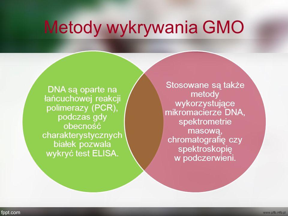 Metody wykrywania GMO DNA są oparte na łańcuchowej reakcji polimerazy (PCR), podczas gdy obecność charakterystycznych białek pozwala wykryć test ELISA