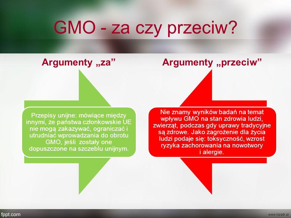 """GMO - za czy przeciw? Argumenty """"za"""" Przepisy unijne: mówiące między innymi, że państwa członkowskie UE nie mogą zakazywać, ograniczać i utrudniać wpr"""