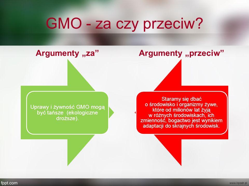 """GMO - za czy przeciw? Argumenty """"za"""" Uprawy i żywność GMO mogą być tańsze (ekologiczne droższe). Argumenty """"przeciw"""" Staramy się dbać o środowisko i o"""