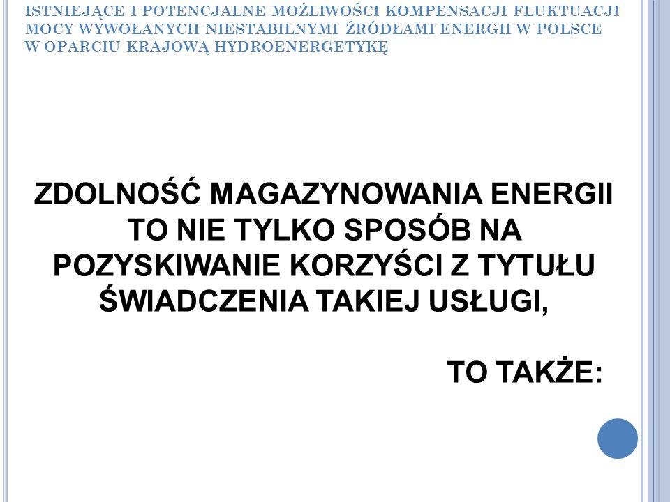ISTNIEJĄCE I POTENCJALNE MOŻLIWOŚCI KOMPENSACJI FLUKTUACJI MOCY WYWOŁANYCH NIESTABILNYMI ŹRÓDŁAMI ENERGII W POLSCE W OPARCIU KRAJOWĄ HYDROENERGETYKĘ ZDOLNOŚĆ MAGAZYNOWANIA ENERGII TO NIE TYLKO SPOSÓB NA POZYSKIWANIE KORZYŚCI Z TYTUŁU ŚWIADCZENIA TAKIEJ USŁUGI, TO TAKŻE:
