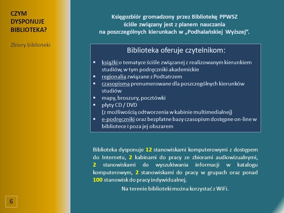 """Księgozbiór gromadzony przez Bibliotekę PPWSZ ściśle związany jest z planem nauczania na poszczególnych kierunkach w """"Podhalańskiej Wyższej ."""