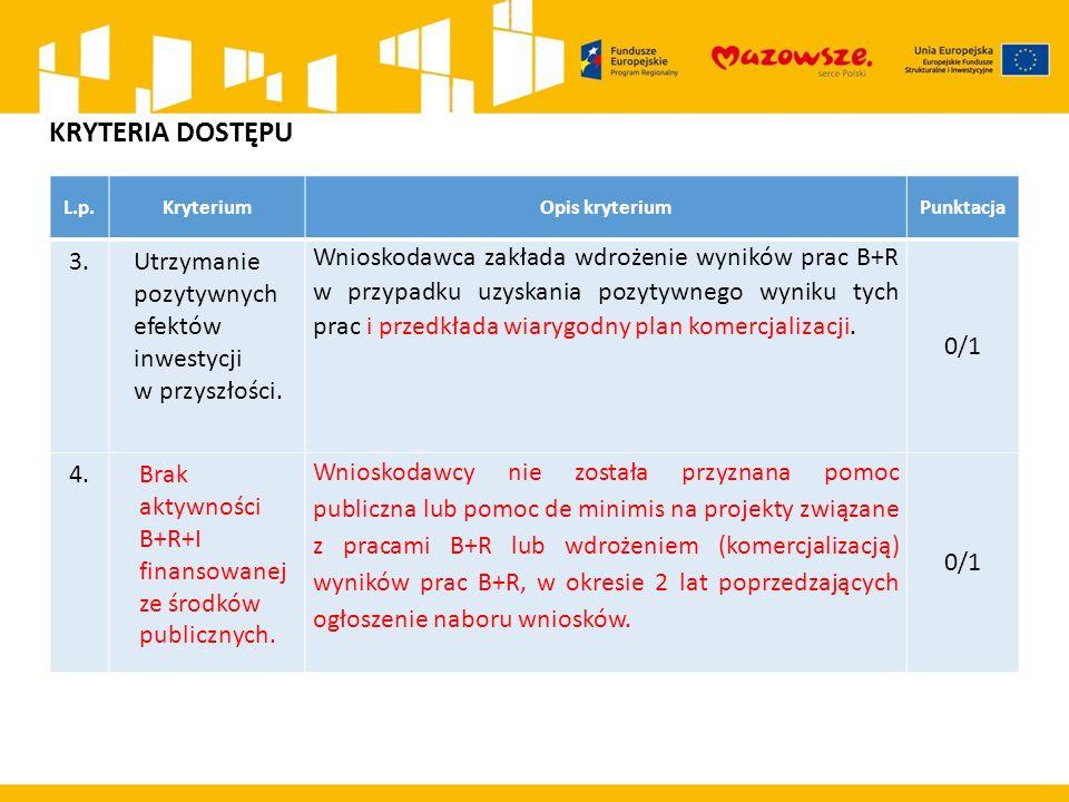 L.p.KryteriumOpis kryteriumPunktacja 3.Utrzymanie pozytywnych efektów inwestycji w przyszłości. Wnioskodawca zakłada wdrożenie wyników prac B+R w przy