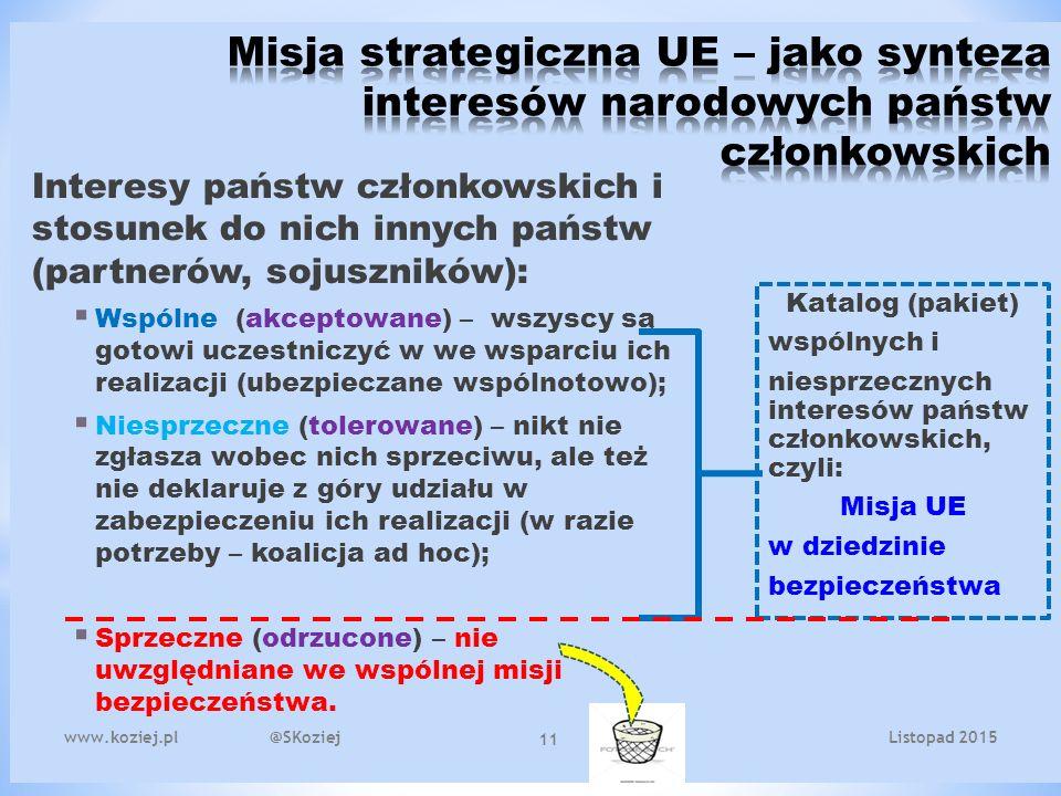 www.koziej.pl @SKoziej 11 Interesy państw członkowskich i stosunek do nich innych państw (partnerów, sojuszników):  Wspólne (akceptowane) – wszyscy są gotowi uczestniczyć w we wsparciu ich realizacji (ubezpieczane wspólnotowo);  Niesprzeczne (tolerowane) – nikt nie zgłasza wobec nich sprzeciwu, ale też nie deklaruje z góry udziału w zabezpieczeniu ich realizacji (w razie potrzeby – koalicja ad hoc);  Sprzeczne (odrzucone) – nie uwzględniane we wspólnej misji bezpieczeństwa.
