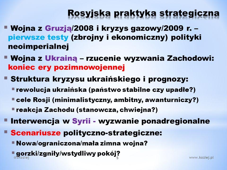  Konflikt wewnątrzislamski i skutki niestrategicznych interwencji Zachodu  Różnice interesów i brak koordynacji świata zewnętrznego: Zachód-Rosja.