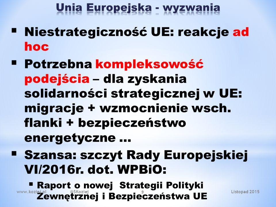  Niestrategiczność UE: reakcje ad hoc  Potrzebna kompleksowość podejścia – dla zyskania solidarności strategicznej w UE: migracje + wzmocnienie wsch.
