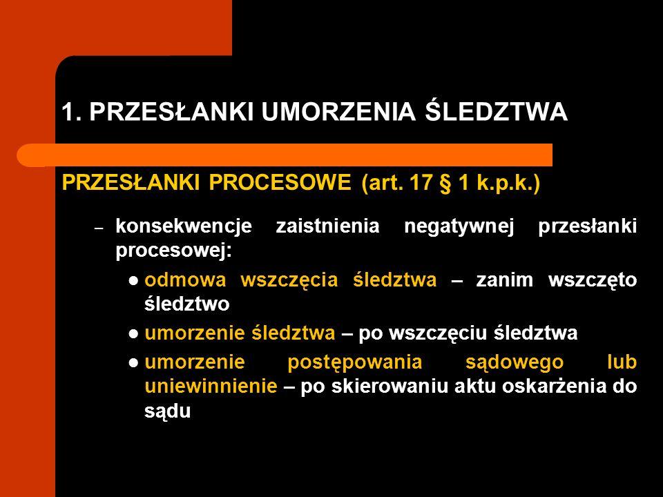 1. PRZESŁANKI UMORZENIA ŚLEDZTWA PRZESŁANKI PROCESOWE (art. 17 § 1 k.p.k.) – konsekwencje zaistnienia negatywnej przesłanki procesowej: odmowa wszczęc