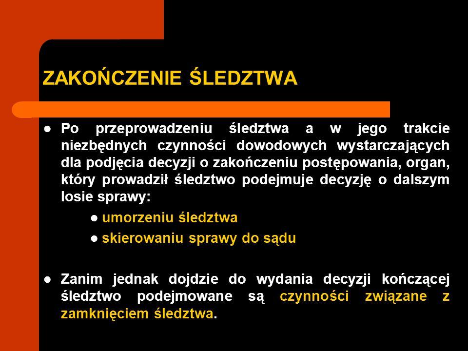 ZAKOŃCZENIE ŚLEDZTWA I.Czynności związane z zamknięciem śledztwa II.