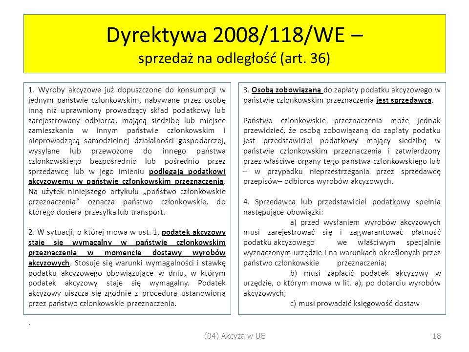 Dyrektywa 2008/118/WE – sprzedaż na odległość (art.
