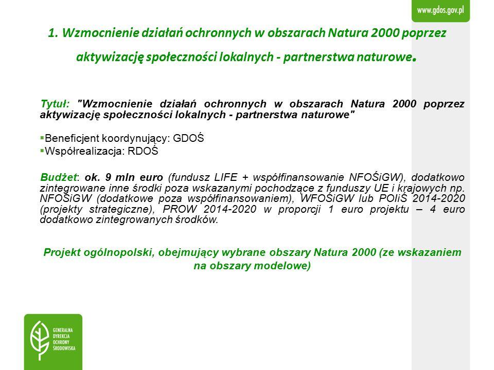 1. Wzmocnienie działań ochronnych w obszarach Natura 2000 poprzez aktywizację społeczności lokalnych - partnerstwa naturowe. Tytuł:
